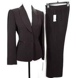 Tahari Chocolate Brown Crepe & Faux Leather Suit